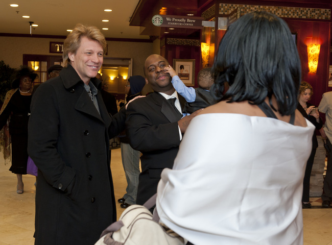 Lewis family meeting Jon Bon Jovi