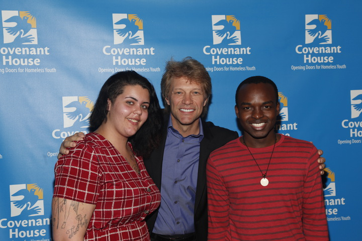 Jon Bon Jovi with Madison and Edgar from Covenant House