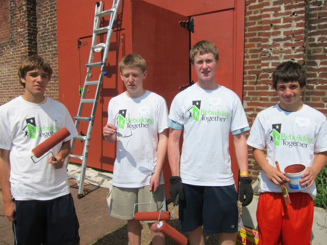 Volunteers from La Salle College High School in Philadelphia