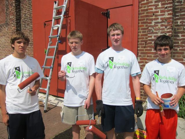 Volunteers from La Salle College High School in Philadelphia