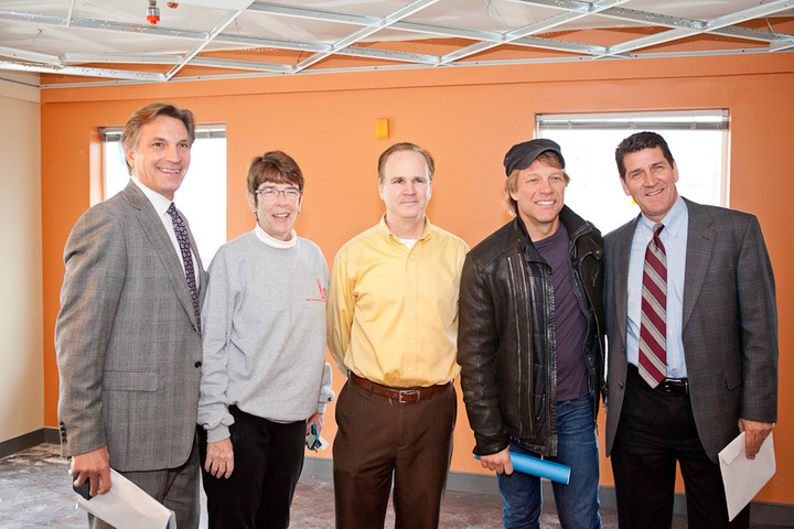 From L to R: JBJSF Board Members Steve Perna, Sister Mary Scullion; Matt McCarter, Project HOME Real Estate Dept; Jon Bon Jovi; and Paul McDonald, President of McDonald Building Co.