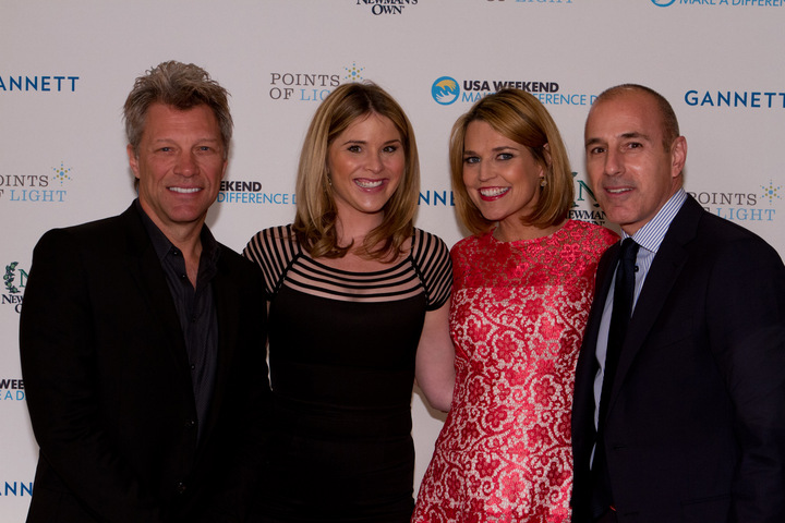 Jon Bon Jovi, Jenna Bush Hager, Savannah Guthrie, and Matt Lauer at the Make a Difference Day Awards Luncheon