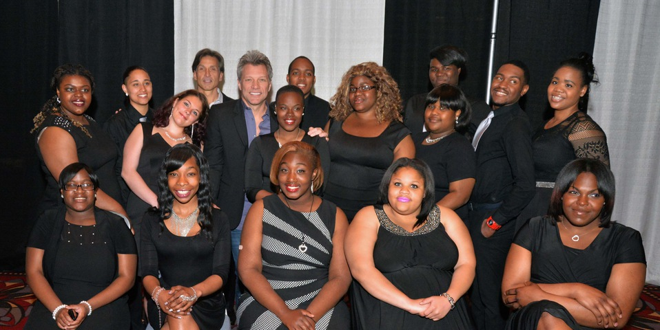 Craig Spencer & Jon Bon Jovi with Covenant House Youth at Night of Broadway Stars