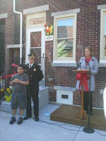 Jorge, Chief Thompson, and Mimi Box at Heart of Camden Ribbon Cutting