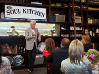 President Bill Clinton Speaking to the Guests at JBJ Soul Kitchen