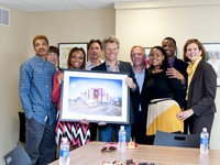 JBJSF Board Members Sister Mary Scullion, Craig Spencer, Jon Bon Jovi, Leo Carlin and Mimi Box are presented with a beautiful photo of JBJ Soul Homes by the young adults from Covenant House PA who have moved in to their new apartments in JBJ Soul Home