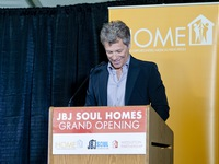 Jon Bon Jovi giving his remarks during the grand opening celebration