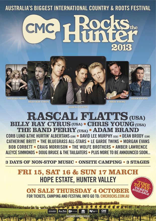 JUST ANNOUNCED: RASCAL FLATTS TO HEADLINE AUSTRALIA'S CMC ROCKS THE HUNTER 2013